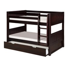 Low Bunk Bed with Trundle and Panel Headboard