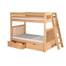 Twin Over Twin Standard Bunk Bed with Lateral Angle Ladder