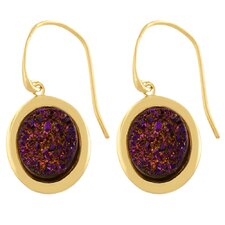 Druzy Oval Cut Dangle Earrings