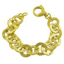 Hammered Flat Rolo Link Bracelet