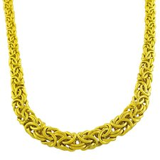 <strong>Fremada Jewelry</strong> Gold over Sterling Silver Graduated Byzantine Necklace