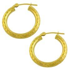 Diamond Cut Tube Hoop Earrings