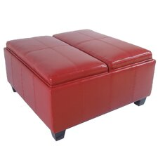 Elegant Leather Storage Ottoman with 2-Tray Top