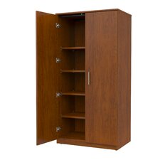 Mobile CaseGoods Tall Storage Cabinet with Locking Doors and 5 Adjustable Shelves