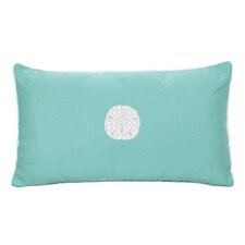 Sunbrella Beach Pillow with Embroidered Sand Dollar and Terry Cloth backs