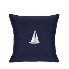 Sunbrella Lumbar Pillow With Embroidered Sailboat