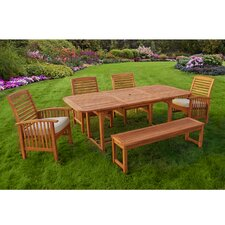 6-Piece Wood Patio Dining Set with Cushions