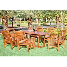 7-Piece Wood Patio Dining Set with Cushions