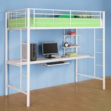 <strong>Home Loft Concept</strong> Twin Loft Bed and Workstation with Desk and Built-In Ladder