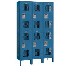 Unassembled Extra Wide Vented Double Tier 3 Wide Locker