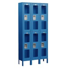 Unassembled See-Through Double Tier 3 Wide Locker