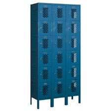 Assembled Six Tier Box 3 Wide Vented Locker