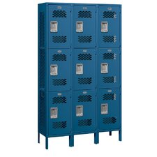 Assembled Extra Wide Vented Triple Tier 3 Wide Locker