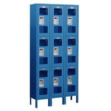 Unassembled See-Through Triple Tier 3 Wide Locker