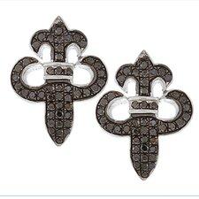 Fleur De Lis Diamond Stud Earrings