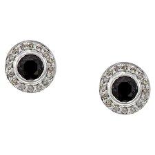 Round Cut Sapphire and Diamond Stud Earrings