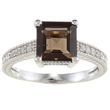 Sterling Silver Princess Cut Gemstone and Diamond Ring