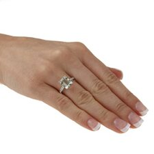 White Gold Emerald Cut Gemstone and Diamond Ring