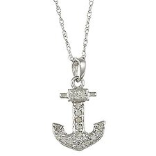 White Gold Diamond Anchor Pendant