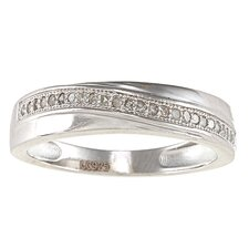 <strong>Designer Diamonds</strong> Sterling Silver Milgrain Diamond Band
