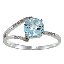 White Gold Round Cut Gemstone and Diamond Ring