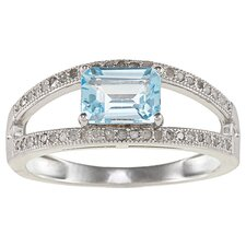 Sterling Silver Split Shank Emerald Cut Gemstone and Pave Set Diamond Ring