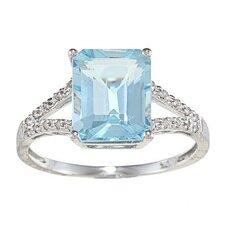 Gold Emerald Cut Gemstone and Diamond Ring