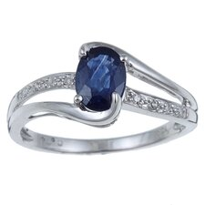 <strong>Designer Diamonds</strong> White Gold Genuine Oval Cut Sapphire and Diamond Ring