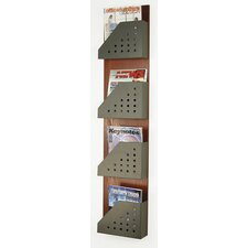 <strong>Buddy Products</strong> Princeton 4 Pocket Wood Back and Steel Magazine Rack