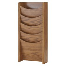 Solid Oak 5 Pocket Display Literature Rack