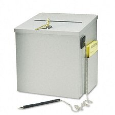 Recycled Steel Suggestion Box W/Locking Top, 8-1/2w x 8d x 9-3/4h, Platinum