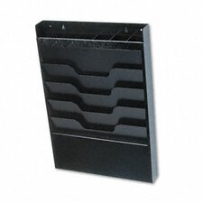 <strong>Buddy Products</strong> Wall File with Supplies Organizer, Letter, Four Pockets, Black