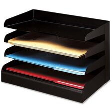 <strong>Buddy Products</strong> Desktop Organizer, 4 Tier, Legal, Horizontal, Black