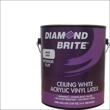 1 Gal. Flat Ceiling White Interior Latex Acrylic Vinyl Paint
