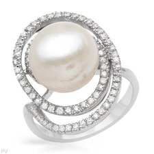 <strong>Vivid Gemz</strong> 925 Sterling Silver Semi-Round Cut Cultured Pearl Ring