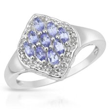 925 Sterling Silver Marquise Cut Sapphires Ring