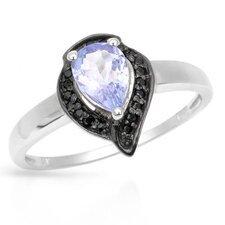 925 Sterling Silver Pear Cut Tanzanite Ring
