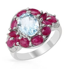 <strong>Vivid Gemz</strong> 925 Sterling Silver Oval Cut Aquamarine Ring