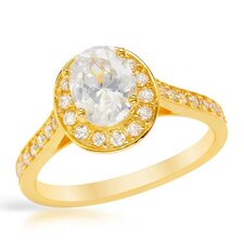 <strong>Vivid Gemz</strong> 18K/925 Gold Plated Silver Oval Cut Cubic Zirconia Ring