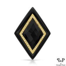 P and P Silver 14K/925 Gold Plated Silver Checkerboard Onyx Pendant