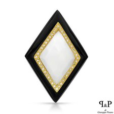 14K/925 Gold plated Silver Checkerboard Onyx Pendant