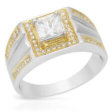 <strong>Vivid Gemz</strong> 18k/925 Gold Plated Silver Radiant Cut Cubic Zirconium Ring