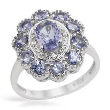 925 Sterling Silver Oval Cut Tanzanite Ring