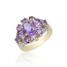 18K/925 Gold Plated Silver Trillion Cut Amethysts Ring