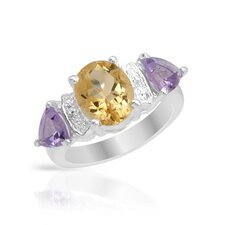 925 Sterling Silver Trillion Cut Amethysts Ring