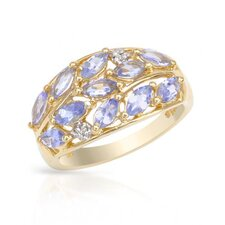 14K/925 Gold Plated Silver Round Cut Topazes Ring