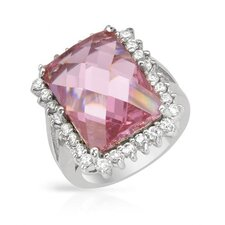 <strong>Vivid Gemz</strong> 925 Sterling Silver Checkerboard Cut Cubic Zirconia Ring