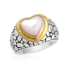 Sterling Silver Heart Cut Mother of Pearl Ring