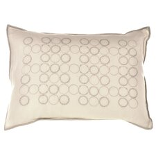 "<strong>Vera Wang</strong> Bamboo Leaves 12"" x 16"" Circle Embroidery Decorative Down Pillow"
