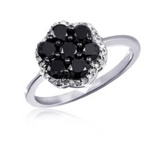 Sterling Silver Flower Round Cut Diamond Cluster Ring